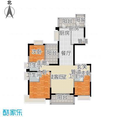 天骄御峰205.00㎡01型12栋1单元3+户型3室2厅