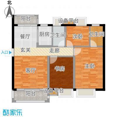 富盈四季华庭105.00㎡3-5栋标准层02户型3室2厅
