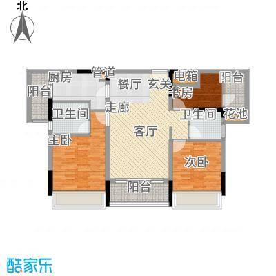 美丽湾畔花园97.66㎡2号楼标准层02户型3室2厅