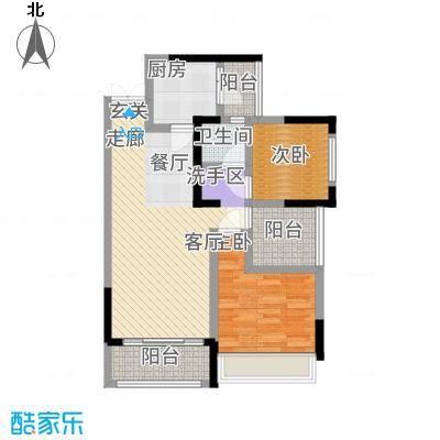 信鸿熙岸花园82.28㎡D户型2室2厅