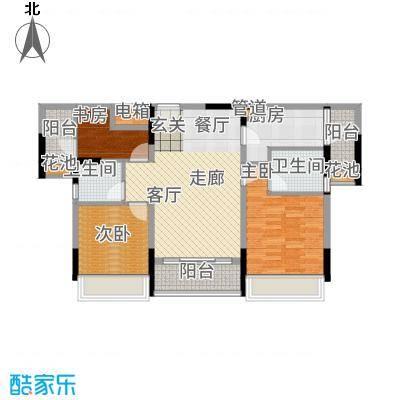 美丽湾畔花园95.65㎡3号楼标准层02户型3室2厅