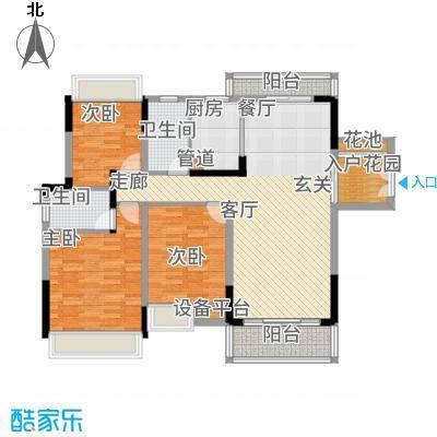 美丽湾畔花园128.08㎡4号楼标准层01、03户型3室2厅