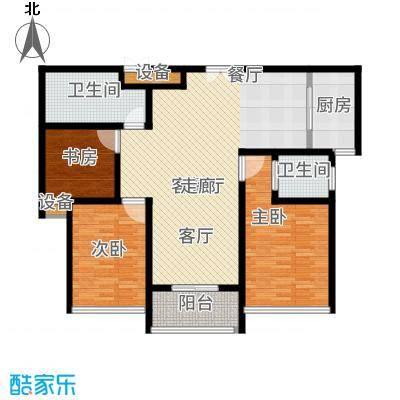嘉悦景苑120.00㎡套房中间标准层户型2室2厅