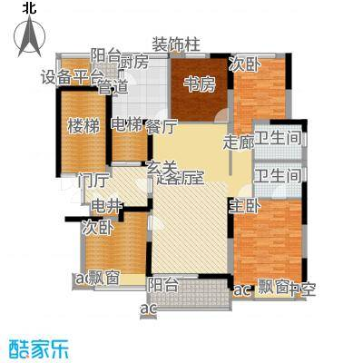 九龙仓雅戈尔铂翠湾153.00㎡B户型4室2厅