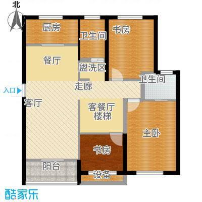 嘉悦景苑202.00㎡套房两侧复式层一层平面户型6室2厅