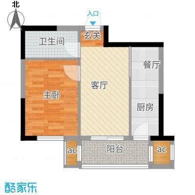 金帆明居44.30㎡户型1室1厅