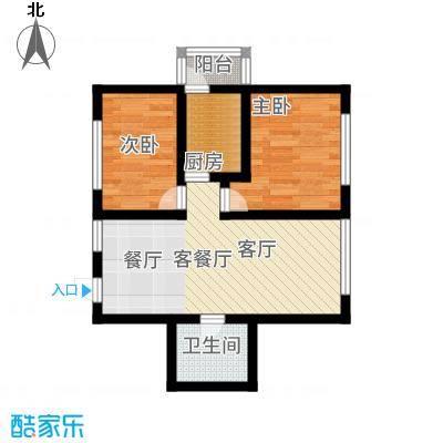 罗马公元73.31㎡使用面积户型2室1厅