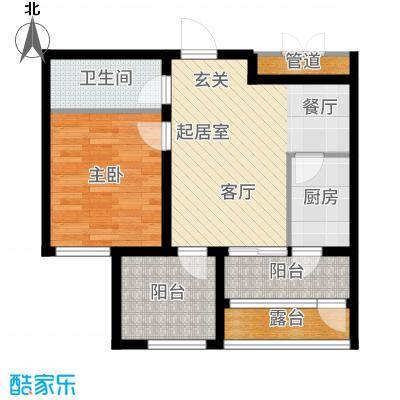 盟科涵舍78.55㎡1号楼一单元C一室户型1室2厅