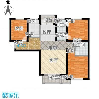 哈尔滨万达城134.00㎡万达城高层C5户型3室2厅