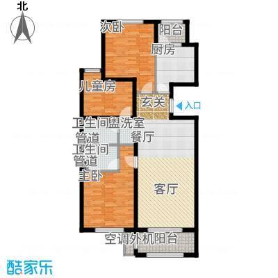 哈尔滨万达城130.00㎡万达城高层C2户型3室2厅