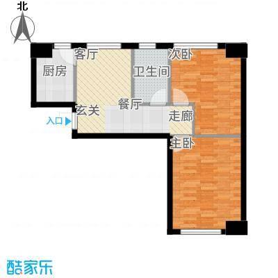 中安美寓76.05㎡小高层A1a户型2室1厅