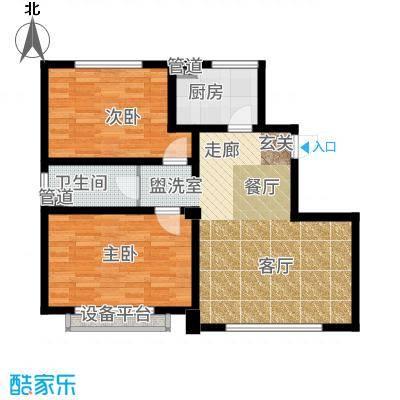 大禹褐石公园77.00㎡A1面积为户型2室2厅