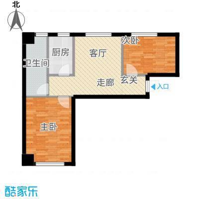中安美寓71.52㎡小高层E1a户型2室1厅