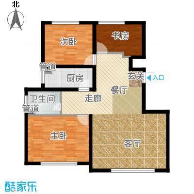 大禹褐石公园97.00㎡A2面积约为户型3室2厅