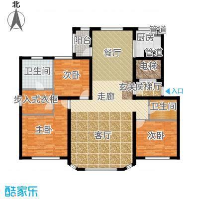 大禹褐石公园145.00㎡B4面积约为户型3室2厅