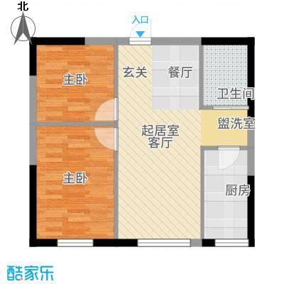 万龙台北明珠70.03㎡C-1户型2室2厅