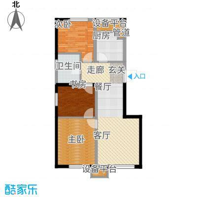 中海净月华庭95.00㎡B户型3室2厅