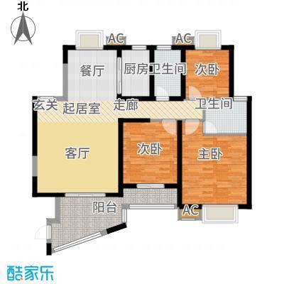 天湖城天源138.00㎡A地块1-5#、7#楼F户型3室2厅