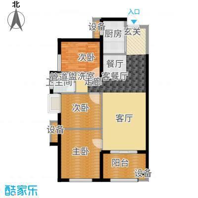 万科广场92.00㎡1#楼06户型3室2厅