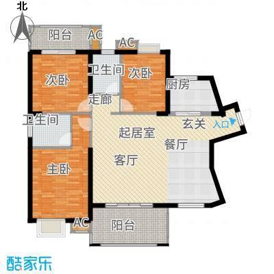 天湖城天源132.00㎡B地块1#楼Q户型3室2厅