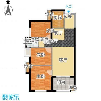 万科广场90.00㎡2#楼05户型3室2厅