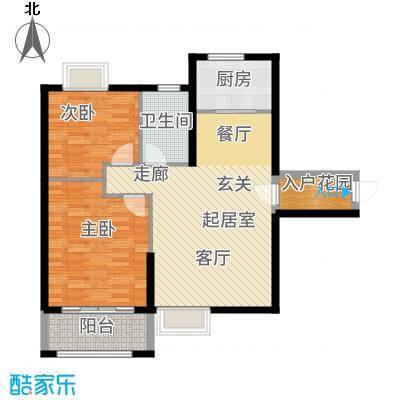 天湖城天源87.00㎡A地块1、2、7#楼A户型2室2厅