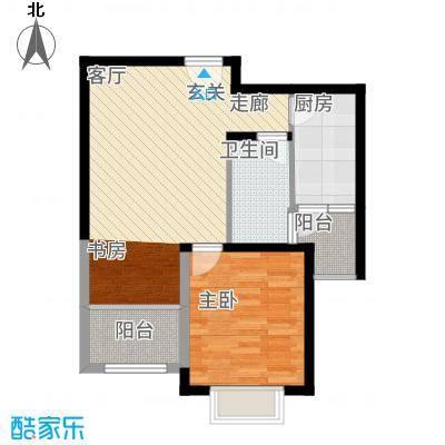 玫瑰园63.57㎡3#、4#、7#、8#、10#楼A户型2室1厅