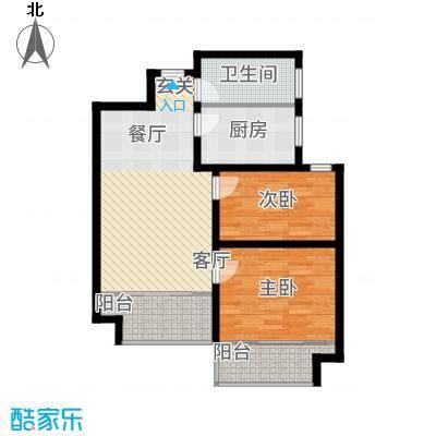 玫瑰园78.33㎡1#、2#B户型2室1厅