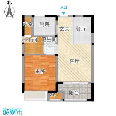 兰陵锦轩59.90㎡8#楼C户型1室2厅