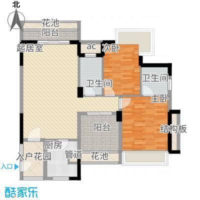 广基自由星城100.82㎡05栋标准层04户型2室2厅