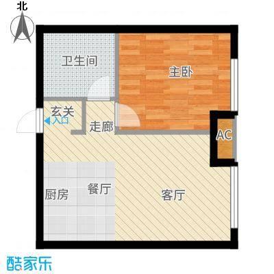 万科春河里55.00㎡1#5#-B户型2室1厅