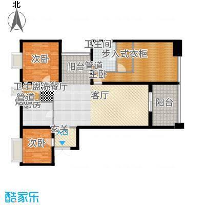 莱蒙时代143.00㎡俯月户型3室2厅