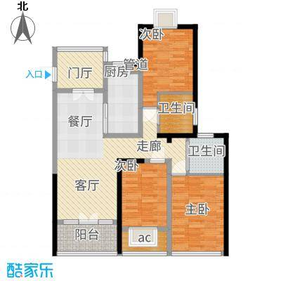 阳光龙庭89.00㎡户型2室2厅