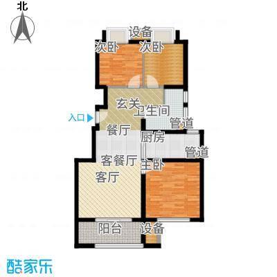 华润国际社区90.00㎡中央公园户型3室2厅
