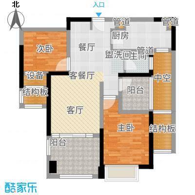 华润国际社区90.00㎡2#楼B户型2室2厅