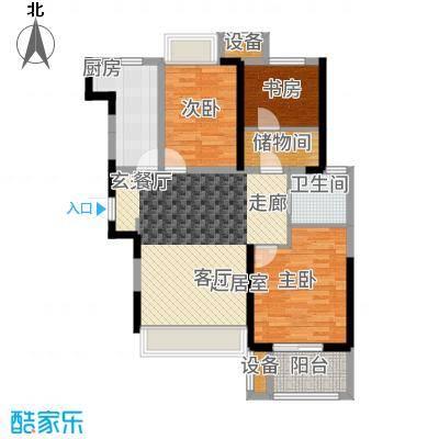 锦绣天地85.19㎡7#标准层左三A户型2室2厅