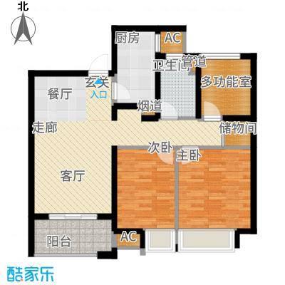 中海凤凰熙岸88.00㎡C1户型2室2厅