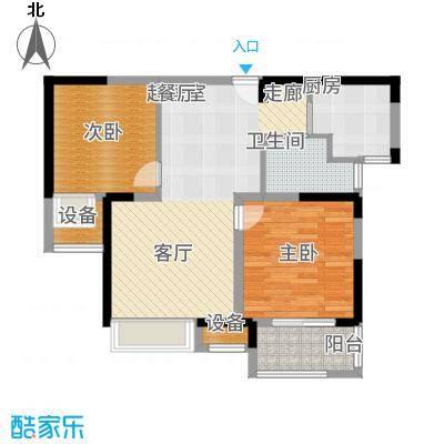 锦绣天地77.28㎡7#标准层左二B户型2室2厅