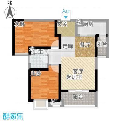 海伦国际86.00㎡35号楼F2户型2室2厅