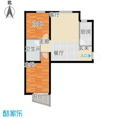 鸥洲88.69㎡小高层W户型2室2厅