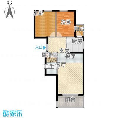 鸥洲89.48㎡小高层L户型2室2厅