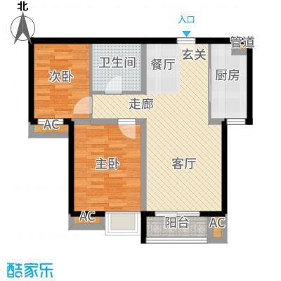 果岭湾90.07㎡13#14#楼D户型2室2厅