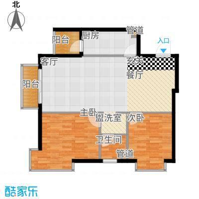 鸥洲88.24㎡小高层B户型2室2厅