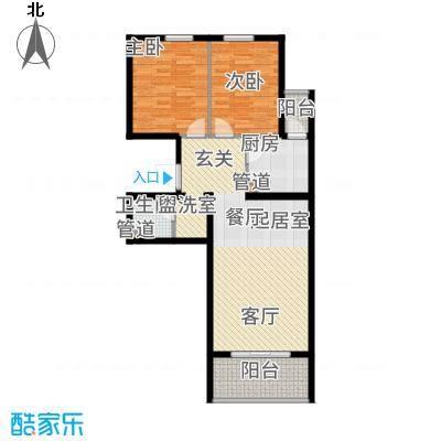鸥洲88.29㎡小高层D户型2室2厅