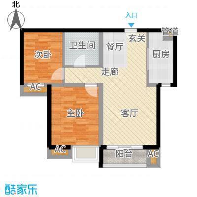 果岭湾89.50㎡13#14#楼D户型2室2厅