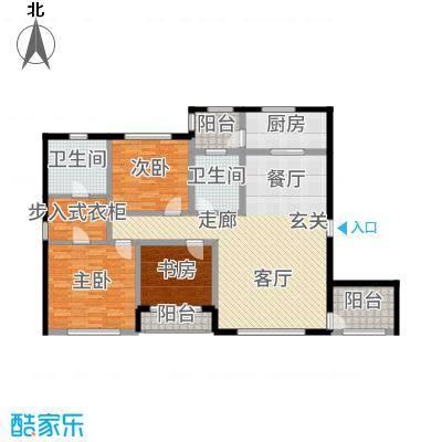 大禹褐石公园135.00㎡B3两位面积约为户型3室2厅