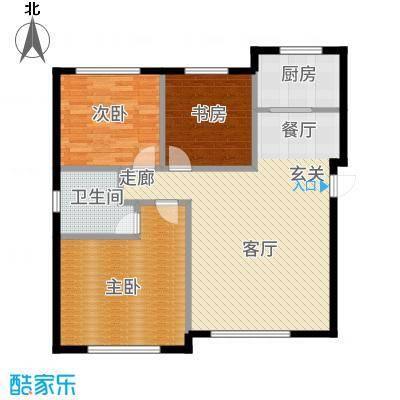 大禹褐石公园100.00㎡B1面积约为户型3室2厅