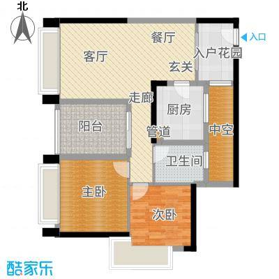 华发蔚蓝堡85.00㎡户型2室2厅