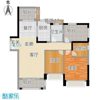 华发蔚蓝堡116.00㎡户型2室2厅