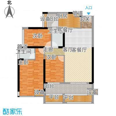 爱ME公园128.28㎡22栋04单位户型3室2厅